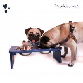 Comedero Bebedero Pug Elevado Doble Azul Mandi Pets
