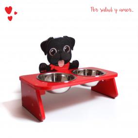 Comedero Bebedero Pug Elevado Doble Rojo Mandi Pets